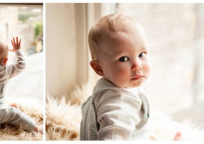 Clare J Sheridan Photography - Baby boy stares out of window