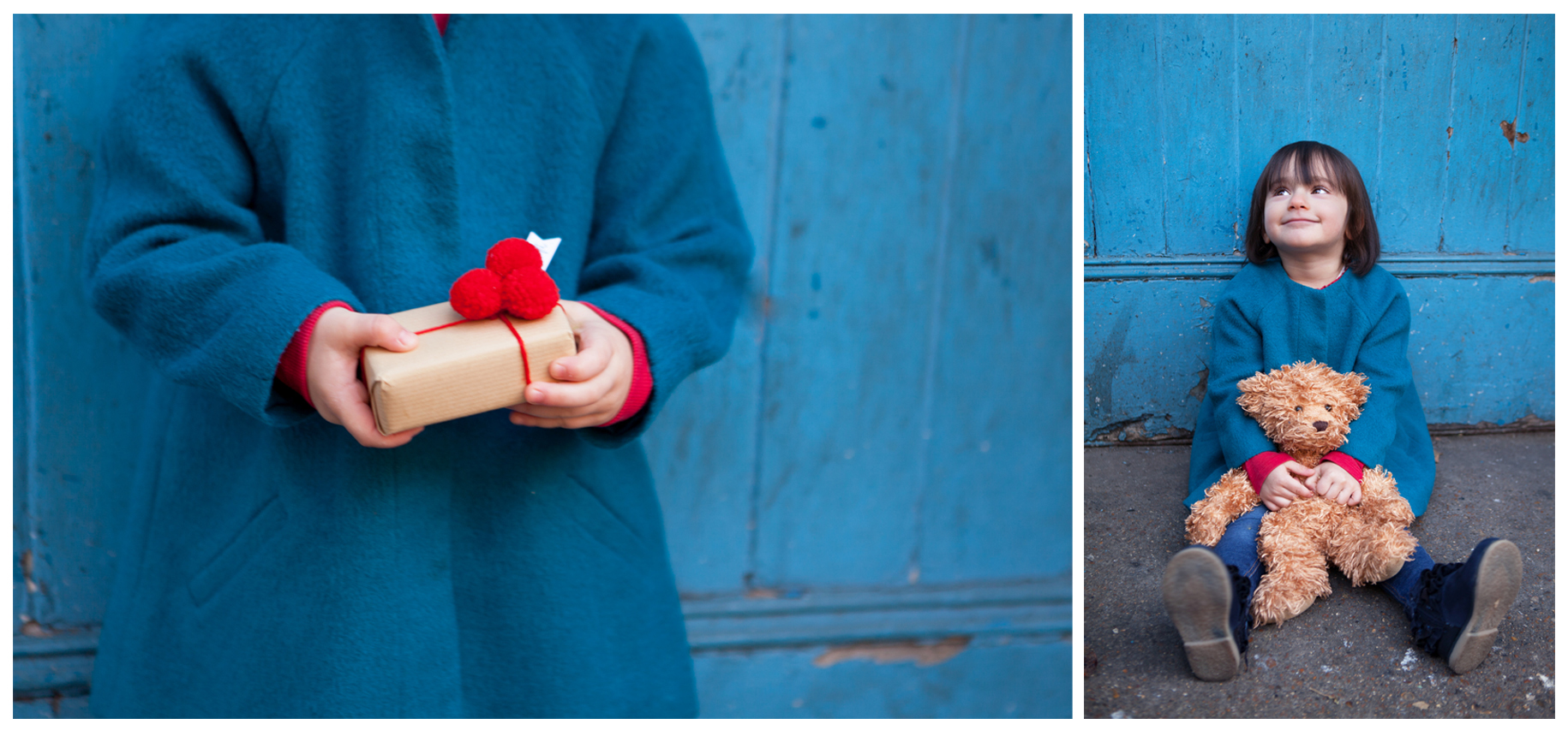 Clare J Sheridan Photography - Young girl in blue coat with teddy bear and wrapped gift