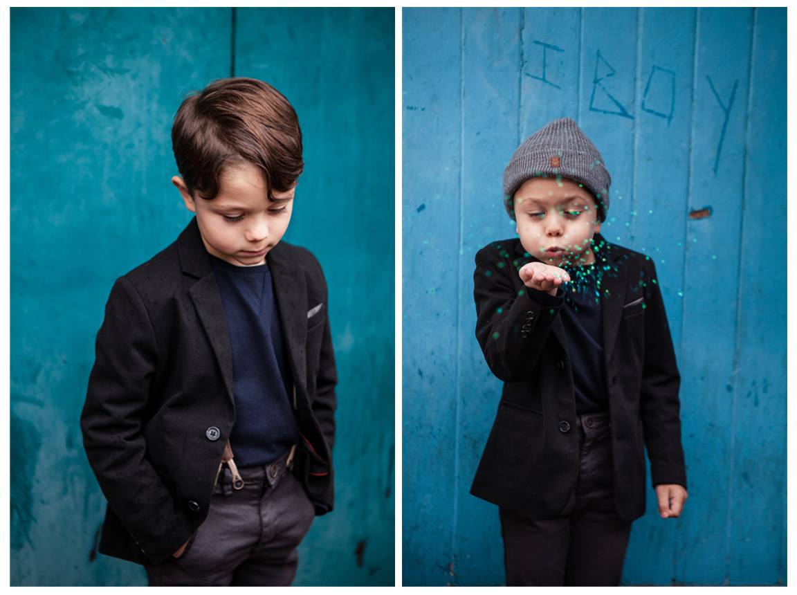 Clare J Sheridan Photography - Young boy wearing blazer and blowing glitter