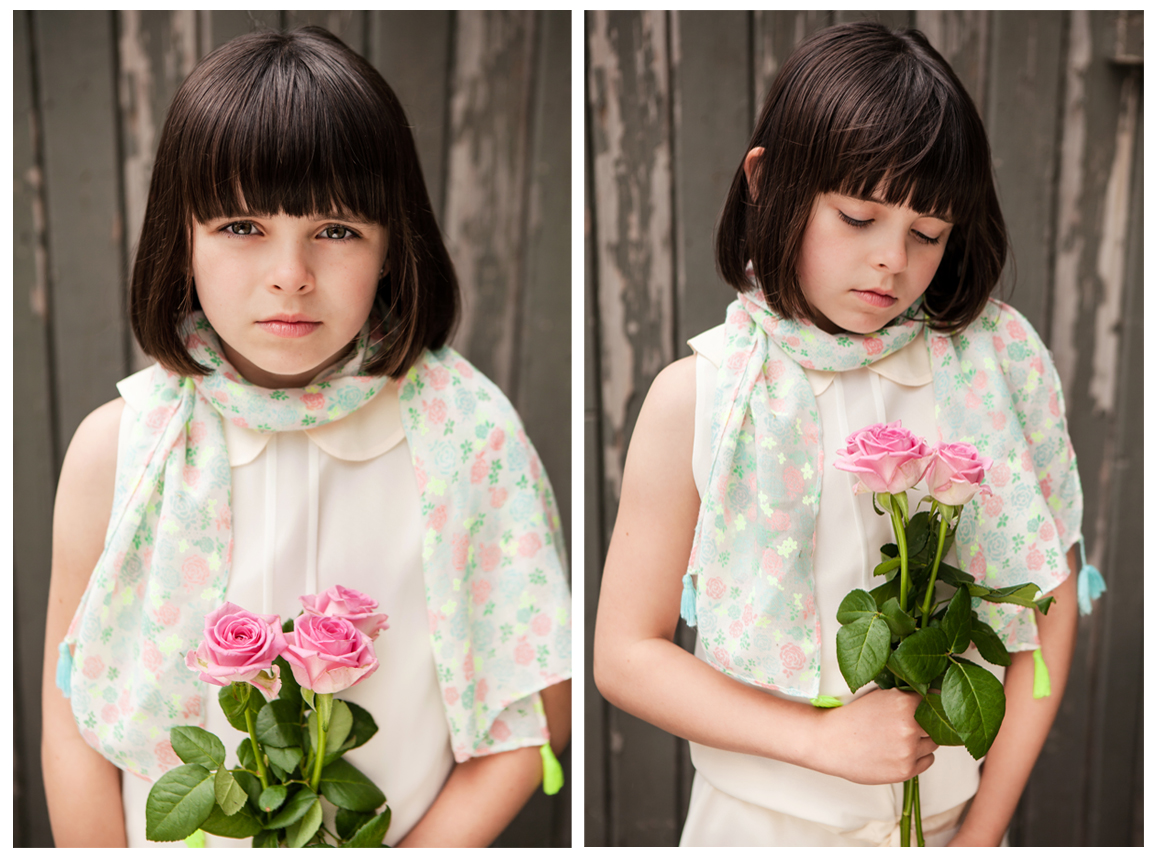 Clare J Sheridan Photography - Young girl holding pink roses