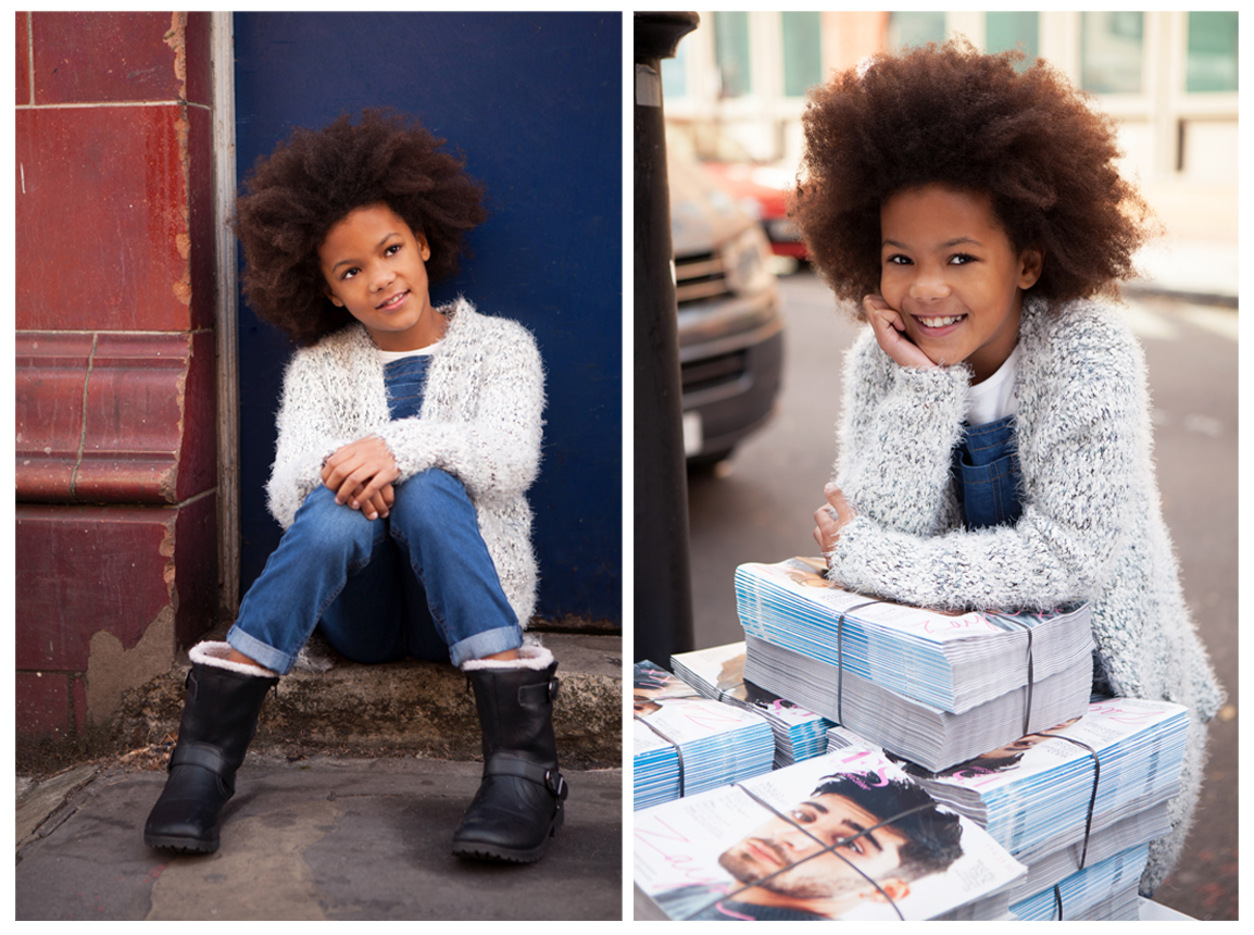 Clare J Sheridan Photography - Young girl sits in doorway and rests against magazines