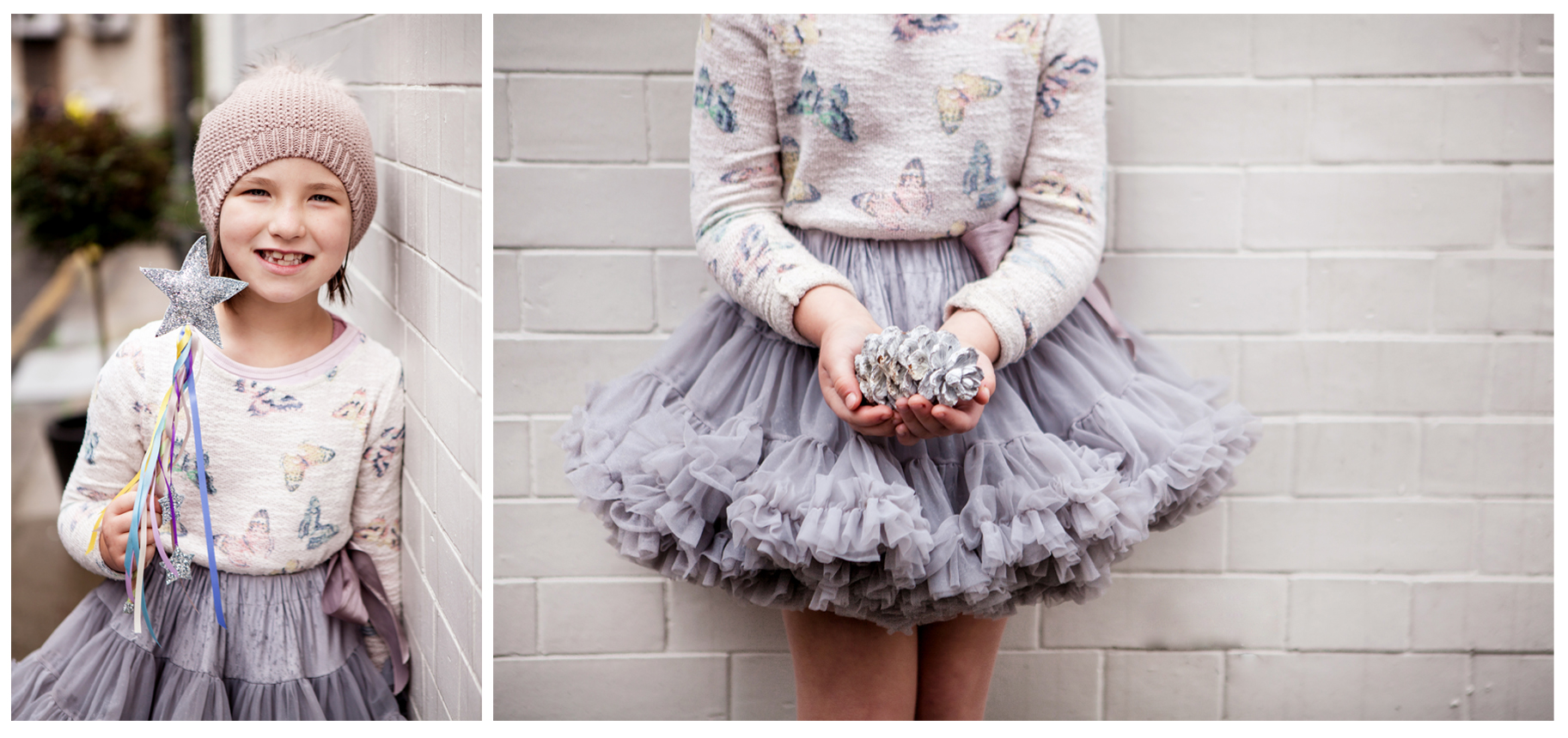Clare J Sheridan Photography - Girl in lilac tutu and woollen hat with wand and pine cone
