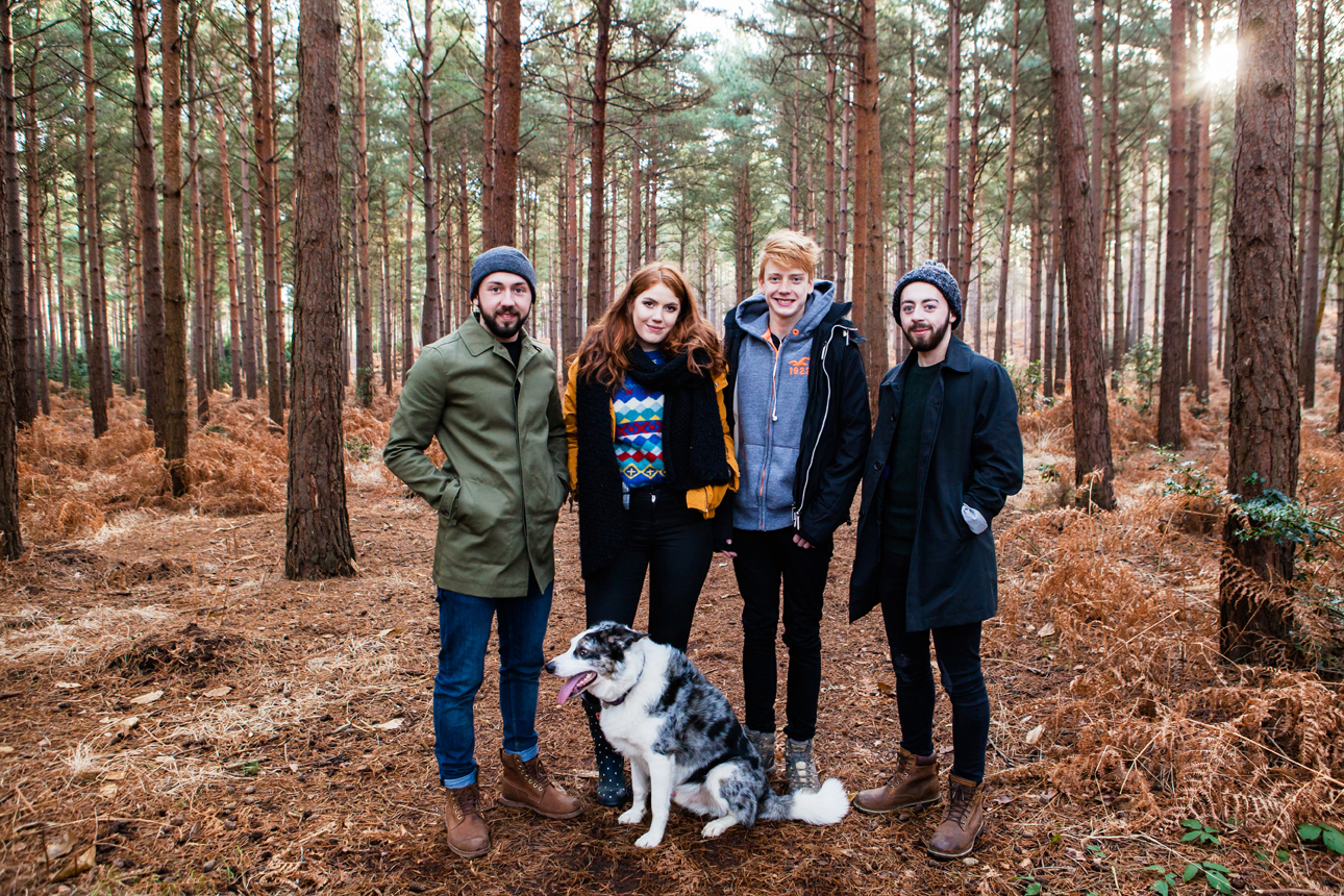 Clare J Sheridan Photography - Older teenage family in woods with dog