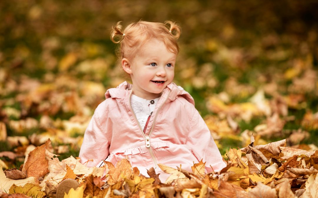 Smiling toddler plays among autumn leaves during Frankfurt family photoshoot - Clare J Sheridan Photography